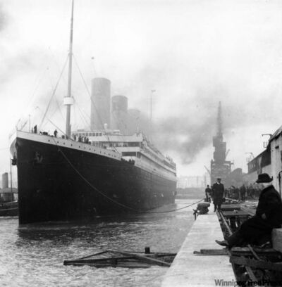 The Titanic gets ready to leave a Southhampton dock for New York City.