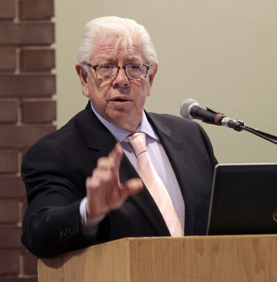 Pulitzer Prize-winning investigative journalist Carl Bernstein speaks at the Holding Power to Account Conference being held at the University of Winnipeg. today. The international conference, which runs through Sunday, is examining important issues that investigative journalism can help illuminate. Bernstein, along with Bob Woodward, won a Pulitizer for the Washington Post in 1973 for their coverage of the Watergate Scandal.