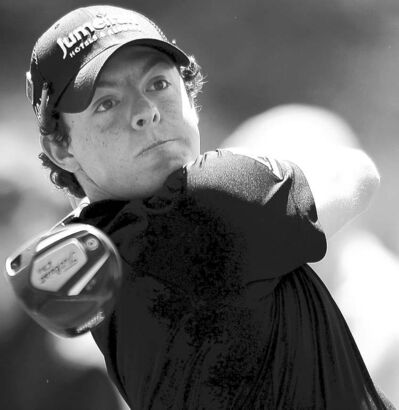 FULL CLOSE CUT CLOSECUT - Rory McIlroy watches his drive from the 18th tee box during the first round of the Masters at Augusta National Golf Club in Augusta, Georgia, Thursday, April 7, 2011. (Jeff Siner/Charlotte Observer/MCT)