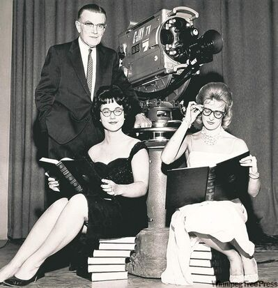 1961 CJAY TV: (left to right) Stew MacPherson, Cecille Ducasse, Jacqueline Davidson