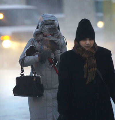 Frigid temperatures this morning had pedestrians bundled up on Portage Avenue.