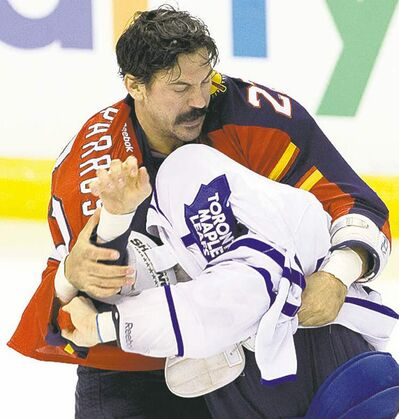 On any other player, this moustache results in a 2-minute minor plus a misconduct.