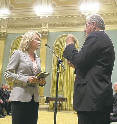 Adrian Wyld / The Canadian PressPortage MP Candice Bergen is sworn in as minister of state  for social development on Monday.