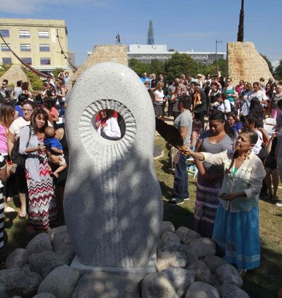 About 150 people including family of missing and murdered indigenous women and girls attended  the monument unveiling by the Oodena Circle at The Forks Tuesday.