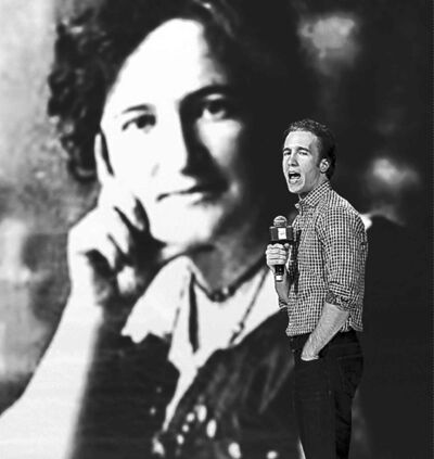 Craig Kielburger stands in front of a photo of social activist Nellie McClung ahead of today's We Day Manitoba activities. The event will feature speakers and performers Martin Sheen, Martin Luther King III, Shawn Desman and the  Kenyan Boys Choir.