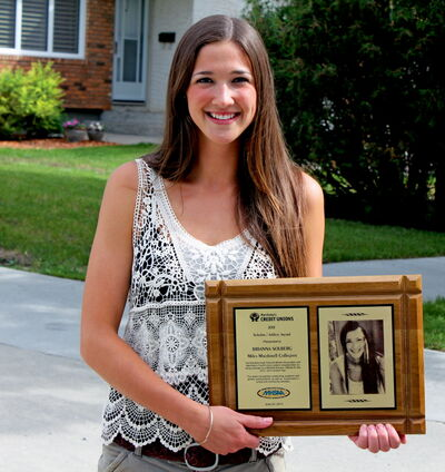 Miles Macdonell grad Brianna Solberg was one of four Manitoba athletes awarded a Credit Unions of Manitoba Scholar Athlete Award.