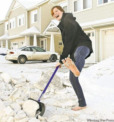 Sierra Larson of Edmonton makes no bones about her feet, preferring to go barefoot all the time, including while shovelling snow.