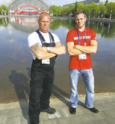 Mike Holmes (left) and Mike Holmes Jr. at WorldSkills 2013 in Leipzig, Germany, to support Team Canada and increase awareness on the importance of skilled trades around the world.