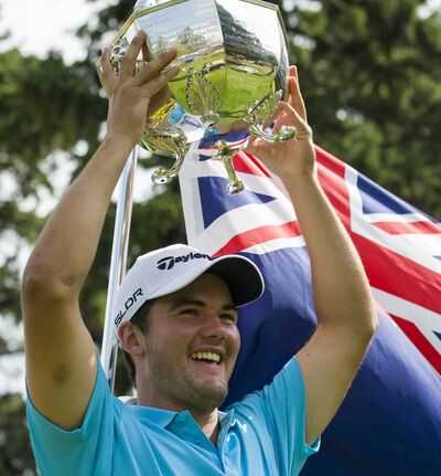 New Zealand's James Beale celebrates winning the 110th edition of Canada's National Men's Amateur Golf Championship Thursday at Elmhurst Golf & Country Club.