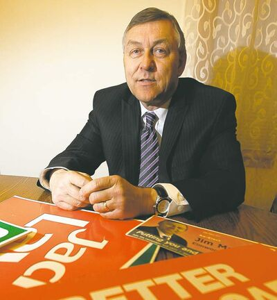 The NDP's Jim Maloway at his home Friday, with election materials. He lost by 300 votes.