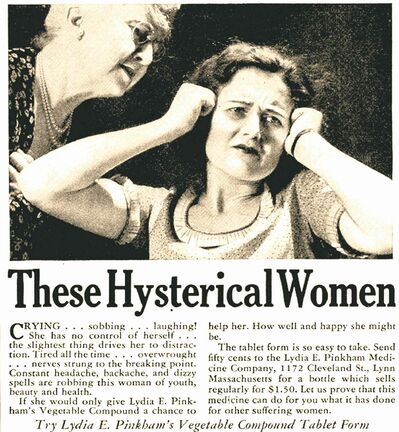 The word hysteria is often used to describe women's reaction. Men rarely have the word applied to them.
