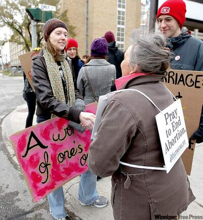 It was a heated but, ultimately, respectful debate outside the Health Sciences Centre Women's Hospital Sunday.