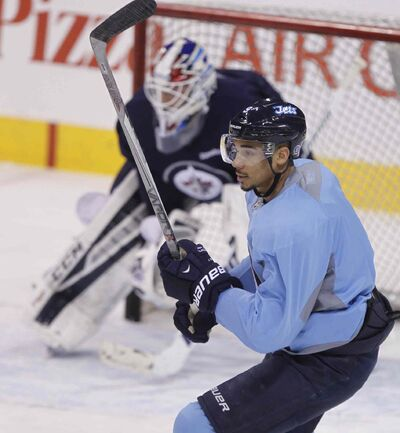 Winnipeg Jets left winger Evander Kane takes part in the team's practice Wednesday at the MTS Centre after being out with an injury.