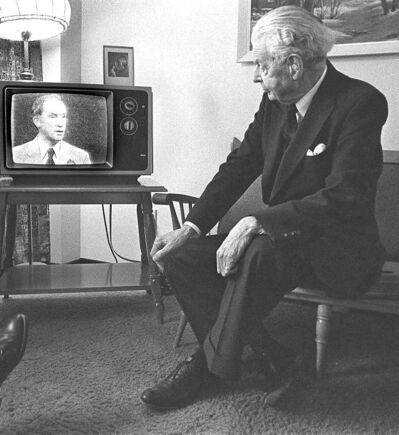 John Diefenbaker watches PierreT rudeau in the federal leaders' debate May 22, 1979.