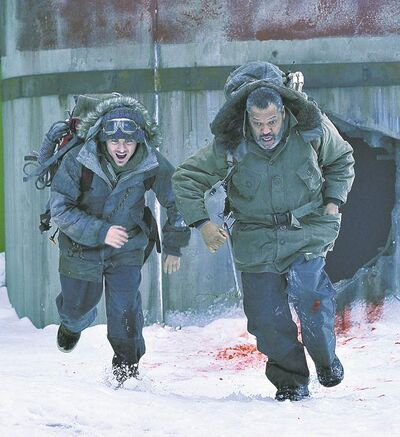 Kevin Zegers (left) and Laurence Fishburne brave the elements.