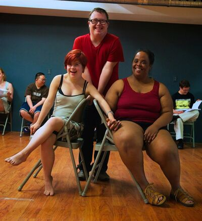 "Acrtors Krystal Nausbaum, Nick Herd, and Suzanne Love are shown in a handout photo. Herd and his fellow cast members share their experiences of living with Down syndrome in ""RARE,"" which runs Jan. 28 to Feb. 7 at the Young Centre for the Performing Arts in Toronto.THE CANADIAN PRESS/HO-John Gundy"