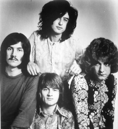 Clockwise from left, John Bonham, Jimmy Page,  Robert Plant and John Paul Jones in Led  Zeppelin, circa 1970.