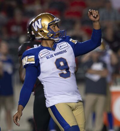 ADRIAN WYLD / THE CANADIAN PRESS FILES</p><p>Bombers kicker Justin Medlock had one of his rare off-nights against the Redblacks.</p></p>