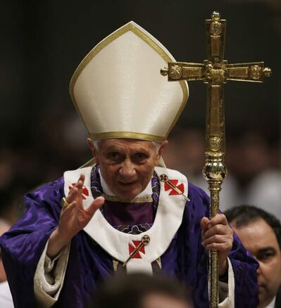 Pope Benedict XVI at Ash Wednesday mass in St. Peter's Basilica this week.