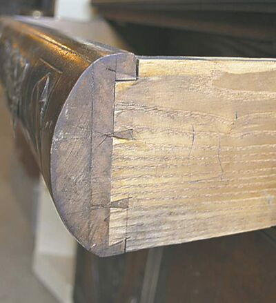 Hand-cut dovetails are easy to spot as they have narrow pins and wide tails.