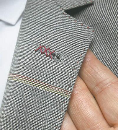 Coloured thread is one way to add a splash of character. And linen, haute in Europe, is making inroads here.