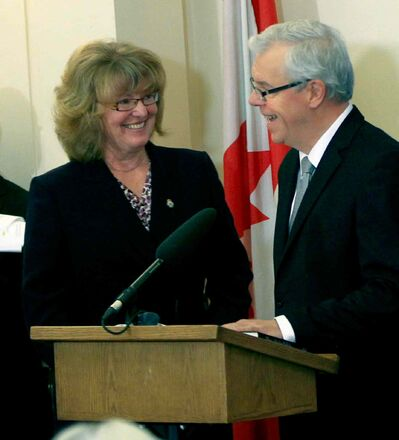 Minister Erna Braun and Premier Greg Selinger at the swearing in ceremony at the Manitoba Legislative Building on Oct. 18.