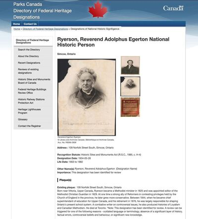 The entry for Egerton Ryerson on the Parks Canada website.