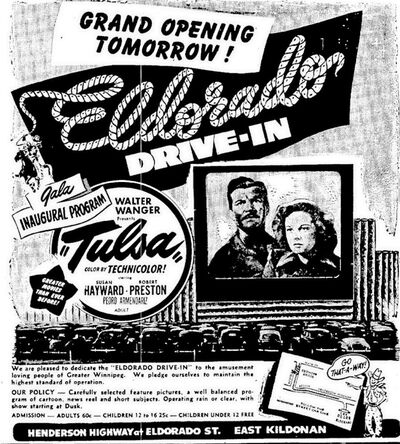 A newspaper advertisement for the opening night of the Eldorado Drive-In in East Kildonan.