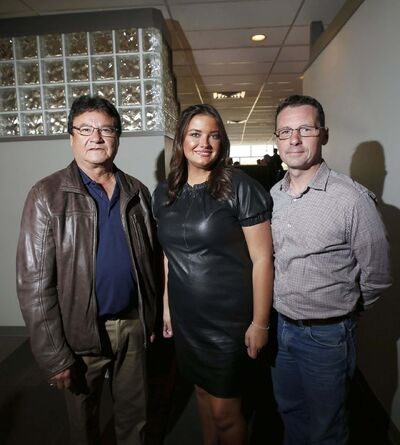 WAYNE GLOWACKI / WINNIPEG FREE PRESS</p><p>First Nation entrepreneurs Oliver Owen of Amik Aviation (from left), Angie Zachary of The Be-YOU-Tee Factory and Robert Zacharias of 7 Acre Wood Animal Boarding Kennel told their success stories at the Aboriginal Chamber of Commerce luncheon held at the Assiniboia Downs Thursday. </p>