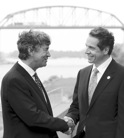 David Duprey / The Associated PressNew York Gov. Andrew Cuomo (right) with Canadian Ambassador Gary Doer after announcing a Peace Bridge deal in Buffalo, N.Y., Wednesday.