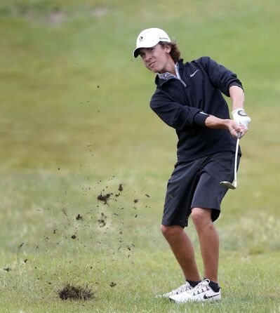 WAYNE GLOWACKI / WINNIPEG FREE PRESS</p><p>Ryan McMillan representing Manitoba chips out of the rough during the Canada Summer Games event at Southwood Golf & Country Club Wednesday.</p>