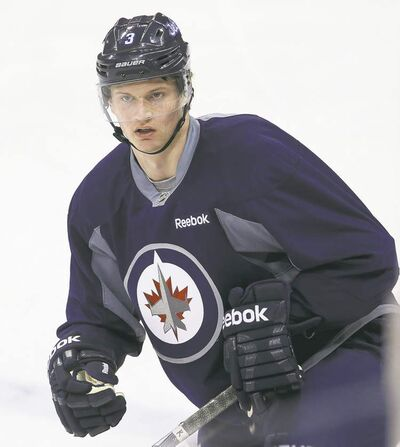 Newest Jet Jacob Trouba practises with the team at the MTS Centre. He's gradually fitting in with the guys and the routine on his first pro team.