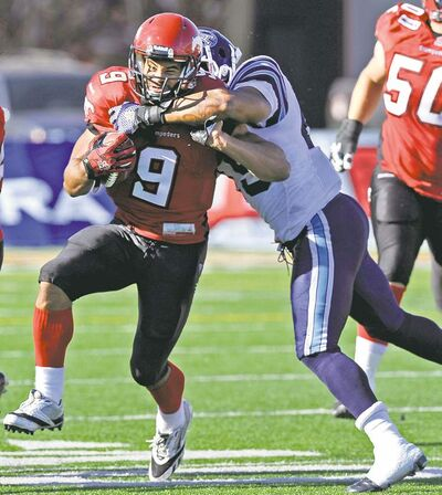 Larry MacDougal / the canadian press archivesCalgary Stampeders� Jon Cornish (9) may be on track to take over the record for rushing yards by a Canadian, but his Stamps aren�t favoured to beat the Lions Saturday.