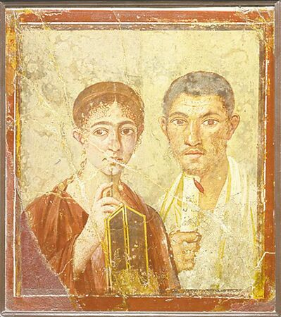 A wall painting of the baker Terentius Neo and his wife, from the House of Terentius Neo, Pompeii, AD 50-79.
