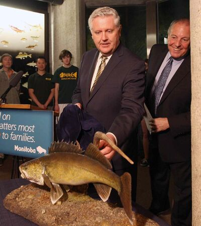 Conservation Minister Gord Mackintosh (left) and Tourism Minister Ron Lemieux unveiled the walleye (pictured), plains bison and Big Bluestem grass as the new official symbols of Manitoba at news conference at FortWhyte Alive Thursday.