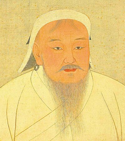 A portrait of Mongolian chieftain Genghis Khan.