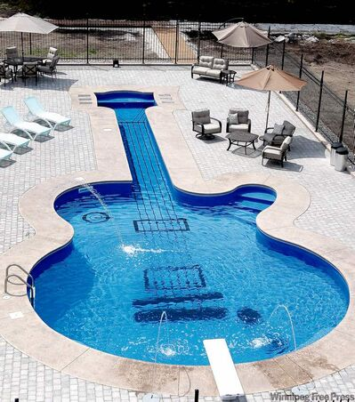 Aqua-Tech's co-owner, Glen McGillivray, says Garry McBurney's guitar pool is likely the most labour-intensive project the company has undertaken.