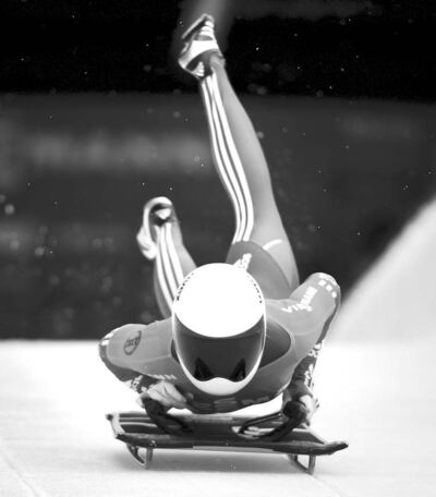 Darryl Dyck / the canadian pressBrandon�s Cassie Hawrysh speeds down the skeleton course in Whistler, B.C., on Friday.