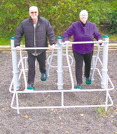 A pair of seniors use the air-walkers at a GreenGym Outdoor Fitness Park in Prince Rupert, B.C.