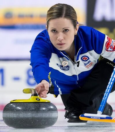 Team Alberta skip Laura Walker makes a shot during draw 3 against team Quebec at the Scotties Tournament of Hearts in Moose Jaw, Sask., Sunday, Feb. 16, 2020. THE CANADIAN PRESS/Jonathan Hayward