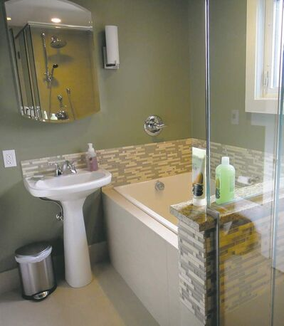 This bathroom renovation was designed exclusively by the homeowner, allowing her to save considerable money.