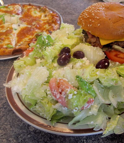 A salad, a burger and a pizza. The Garwood Grill doesn't mess around with these favourites.