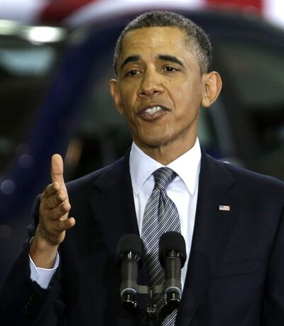 President Barack Obama speaks at Argonne National Laboratory in Argonne, Ill., Friday, March 15, 2013. The president urged congress to authorize $200 million a year for research into clean energy technologies that can wean automobiles off oil. (AP Photo/M. Spencer Green)