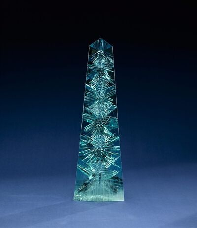 This undated handout photo provided by the Smithsonian Institution shows the obelisk-shaped Dom Pedro gem. The world's largest cut aquamarine gem will soon go on display in its new home at the Smithsonian's National Museum of Natural History in Washington. The museum will unveil the obelisk-shaped Dom Pedro gem Thursday for long-term display. The blue-green crystal was mined in Brazil in the late 1980s and is named for Brazil's first two emperors. (AP Photo/Don Hurlbert, Smithsonian Institution)