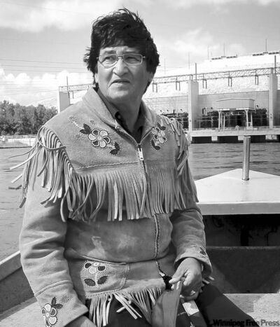 Misipawistik Cree Nation Chief Ovide Mercredi at the Saskatchewan River below the Manitoba Hydro Grand Rapids Generating Station at Grand Rapids.