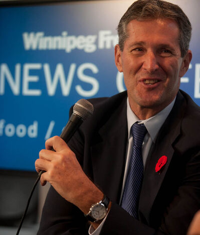 Manitoba Progressive Conservative Leader Brian Pallister at the Winnipeg Free Press News Café on Wednesday, talking with columnist Dan Lett about the state of the PC party and its future.