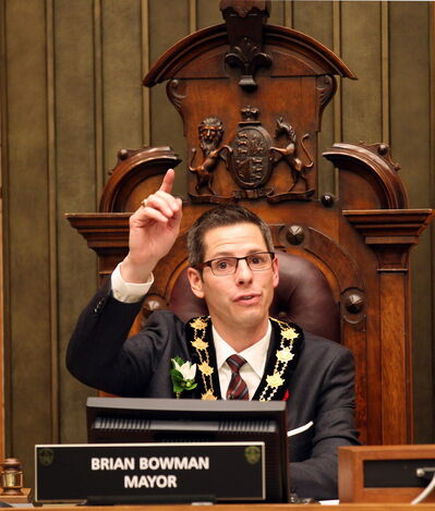 Mayor Brian Bowman presides over his first meeting of city council Tuesday night.