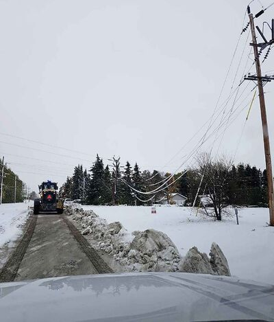 On Sunday, Manitoba Hydro said restoring power to Portage la Prairie would be its focus. (Manitoba Hydro photo)