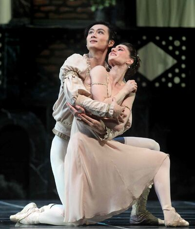 Liang Xing  as Romeo with Juliet (Amanda Green) in the RWB's Romeo + Juliet.
