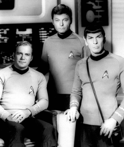 William Shatner (left) DeForest Kelley and Leonard Nimoy on the set of the television series Star Trek.